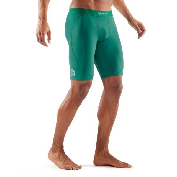 Skins DNAmic Mens Compression Half Tights – Dark Green