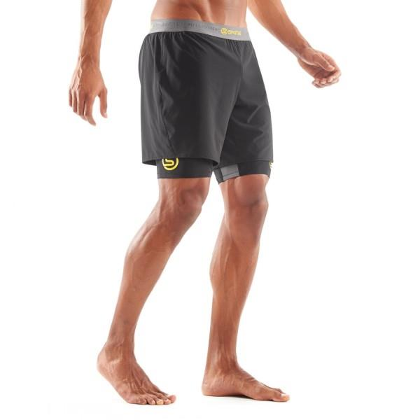Skins DNAmic Superpose Mens Compression Half Tights With Shorts – Black/Citron