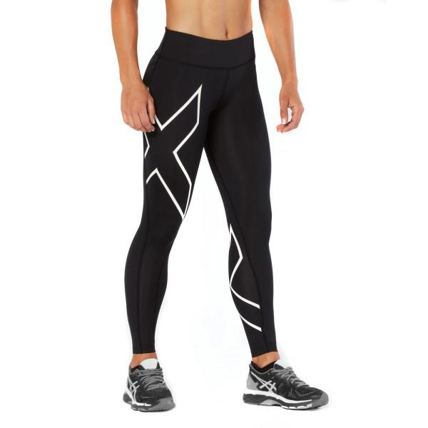 2XU Mid-Rise Womens Full Length Compression Tights – Black/White