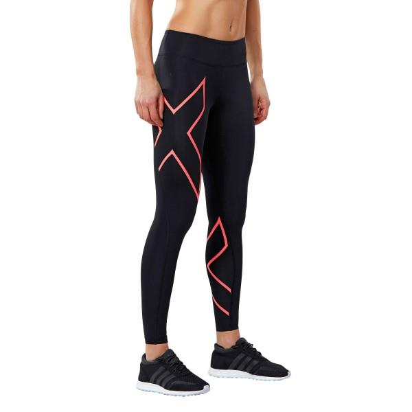 2XU Mid-Rise Womens Compression Tights – Black/Fiery Coral