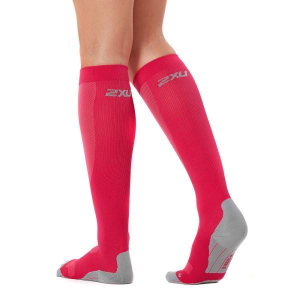 2XU Womens Compression Run Socks – Hot Pink/Grey