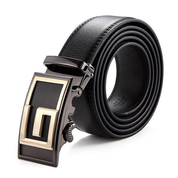 120CM Male Genuine Leather Automatic Lock Stainless Steel Buckle Belts