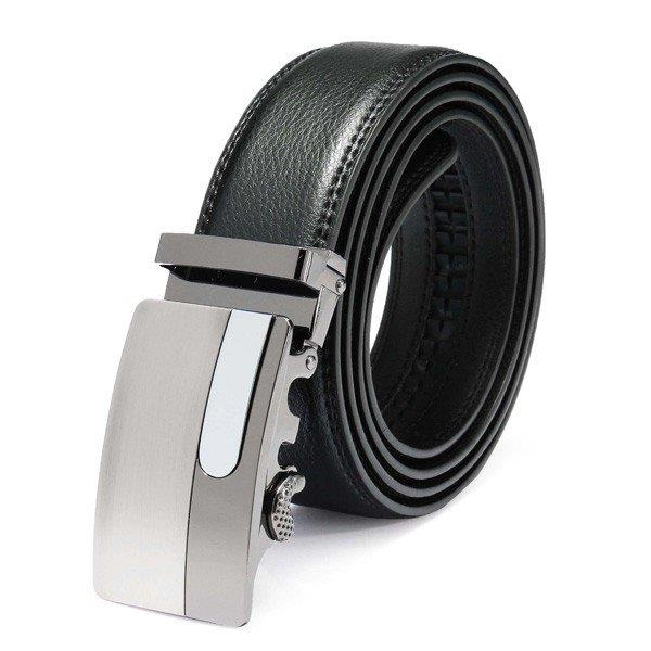 120cm Male Cowhide Leather Automatic Buckle Black Business Belt