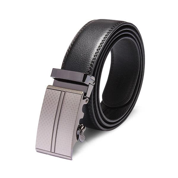 120cm Adejustable Men's Genuine Leather Black Automatic Buckle Belt