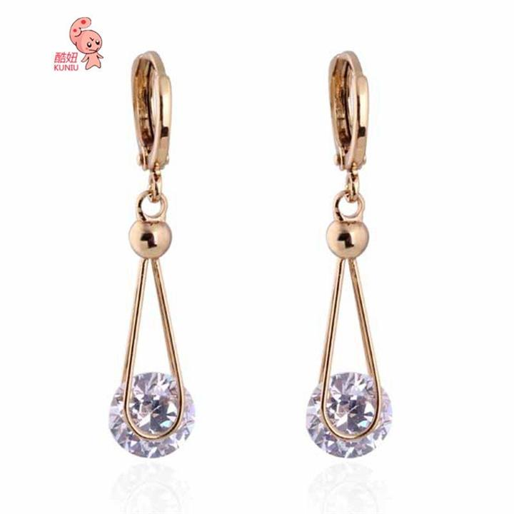 18K Gold Plated Crystal Zircon Dangle Earrings