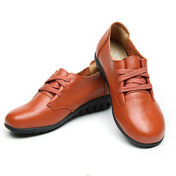 Leather Lace Up Pure Color Comfy Flat Shoes