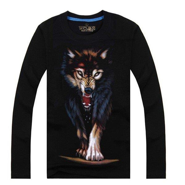 Men's Spring 3D Printed Noctilucent Cotton Long Sleeve T-shirts Tees Tops