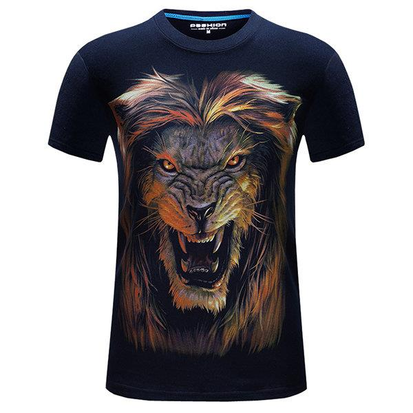 Mens Large Size Summer T-shirts Cool 3D Lion Printing Short Sleeve Cotton Top Tees