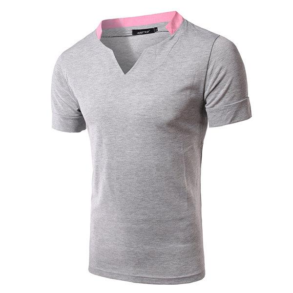 Mens Casual Brief Style Cotton Solid Color Short Sleeve V-Neck T-Shirt
