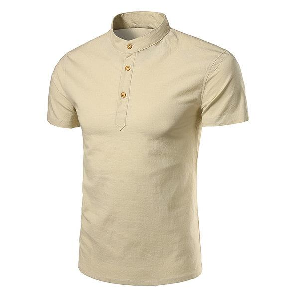 Mens Summer Linen Solid Color Short Sleeve T-shirt Chinese Collar Buttons Top Tee
