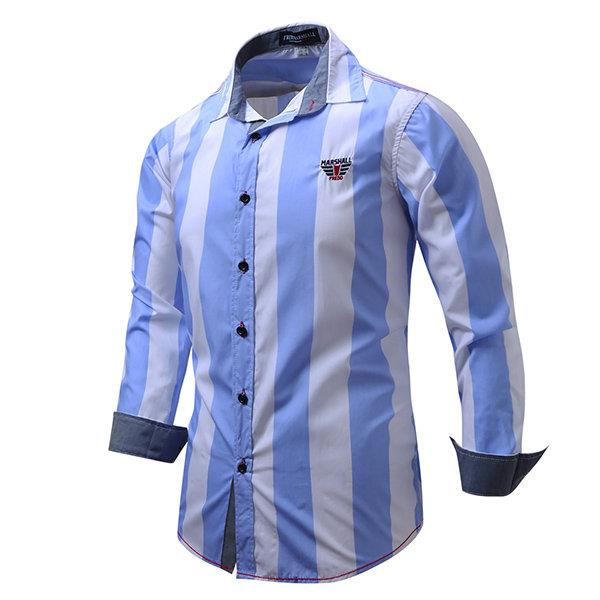 Business Fashion Stripes Printing Cotton Soft Casual Long Sleeve Dress Shirts for Men