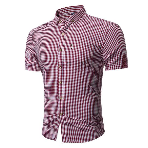 Casual Classical Business Small Plaids Printing Short Sleeve Dress Shirts for Men