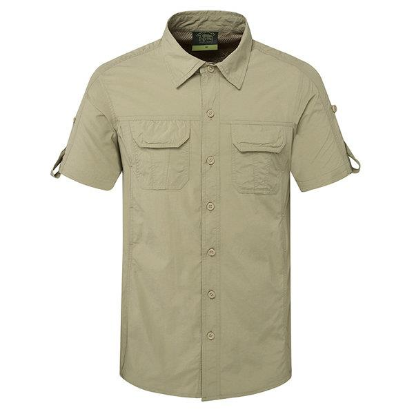 Outdoor Sport Thin Summer Breathable Quickly Dry Short Sleeve Cargo Dress Shirts for Men