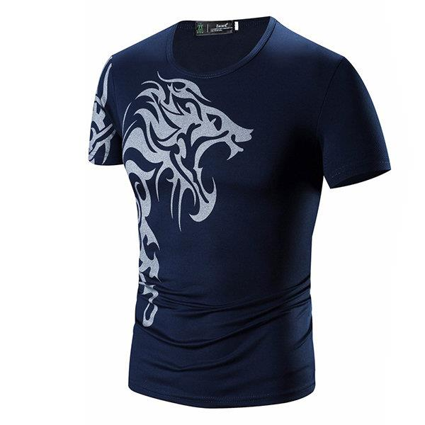 Mens Chinese Style Totem Printing T-shirt Crew Neck Slim Fit Short Sleeve Quick Dry Tee Top