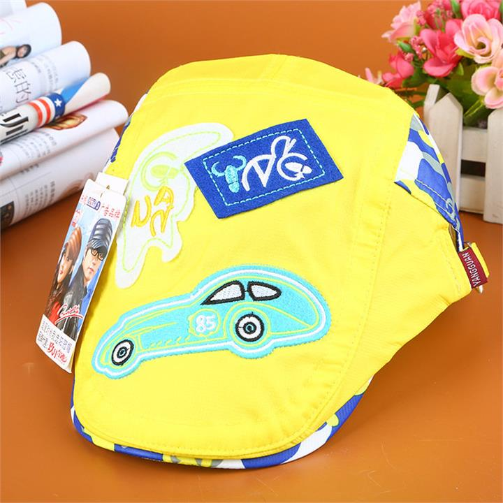 Baby Kids Carton Car Pattern Breathable Quick-drying Beret Hat Outdoor Golf Visor Sun Hat