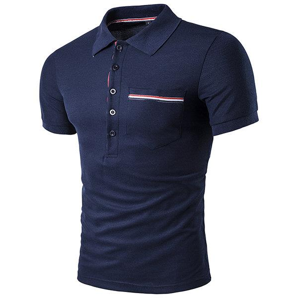 Cotton Front Pocket Buttons Turn-down Collar Short Sleeve Polo Shirt for Men