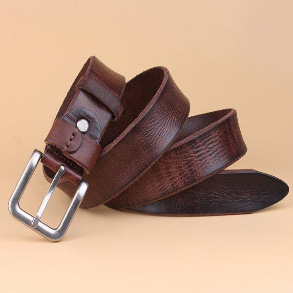125CM Men Brief Casual First Layer Of Leather Belt All-match Needle Buckle Waistband