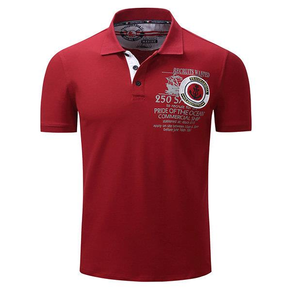 Mens Spring Summer Printed Short Sleeve Casual Business Polo Shirt