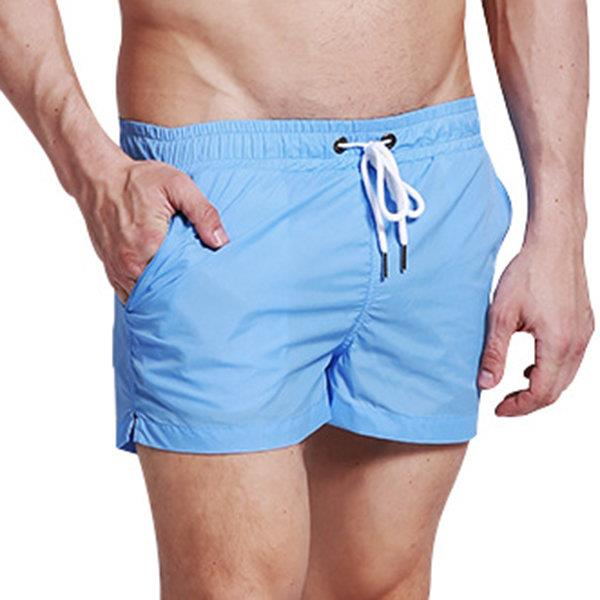 Casual Sports Breathable Beach Shorts Loose Pockets Solid Color Seaside for Men