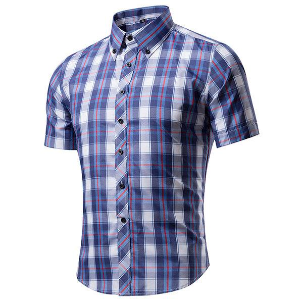 Casual Business Plaids Band Collar Printing Slim Short Sleeve Dress Shirts for Men