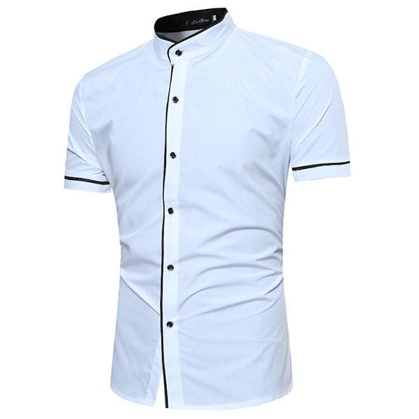 Casual Business Solid Color Stand Collar Short Sleeve Designer Shirts for Men