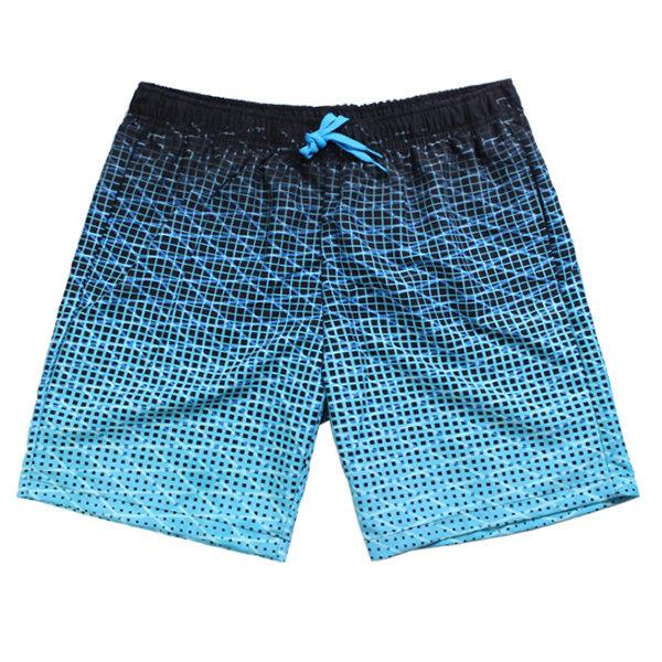 Blue Casual Quick Drying Breathable Printing Sport Loose Board Shorts for Men