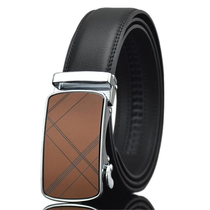 125-130CM Men Business Second Layer Leather Belt Casual Automatic Buckle Leather Waistband Strap