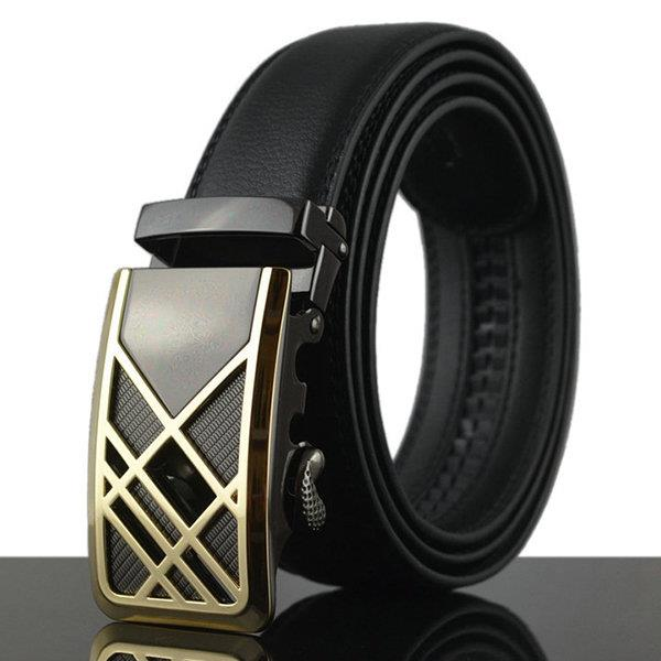 125-130CM New Men Business Genuine Leather Business Belt Durable Automatic Buckle Belt