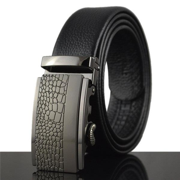 125-130CM Men Business Cowhide Leather Belt Casual Automatic Buckle Leather Luxury Belt Straps