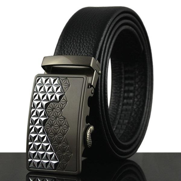125-130CM Men Business Genuine Leather Belt First Layer Of Leather Automatic Buckle Belt