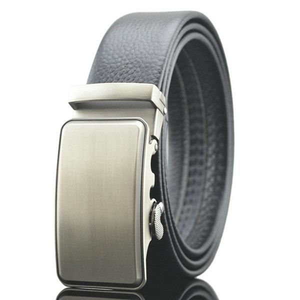 125-130CM Men Business Genuine Leather Belt Bright Gold Buckle Automatic Buckle Belt