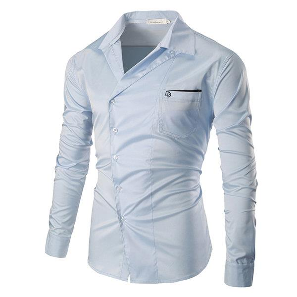 Casual Business Pocket Solid Color Band Collar Designer Shirts for Men