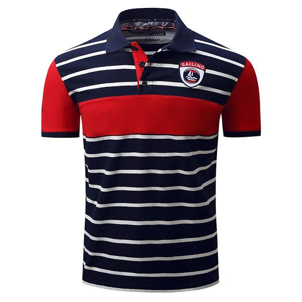 Mens Spring Summer Polo Shirt Stripe Printing Short Sleeve Cotton Business Casual Tops