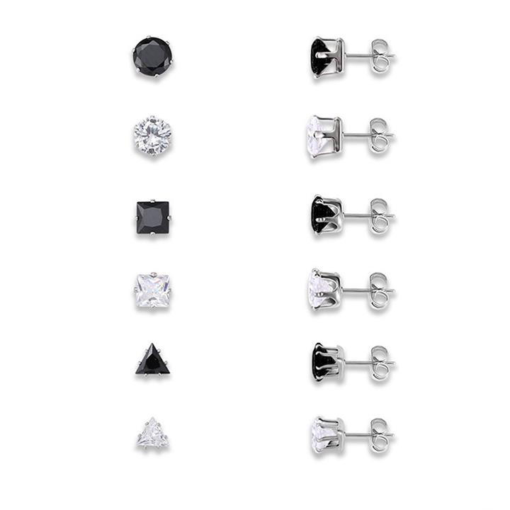 12Pcs Black and White Silver Plated Zircon Geometric Ear Stud Ear Accessories