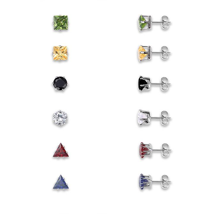 12Pcs Shinning Zircon Multiple Shape Geometric Stud Earrings Daily Accessories