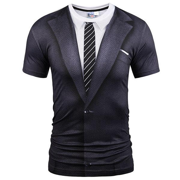 Mens Creative 3D Printed Fake Two Pieces O-neck Short Sleeve Casual T-shirt