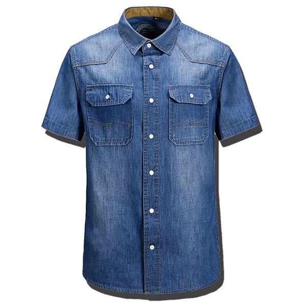 Band Collar Denim Dress Shirts for Men
