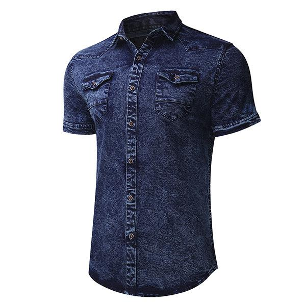 Casual Pockets Cotton Washed Denim Designer Shirts for Men