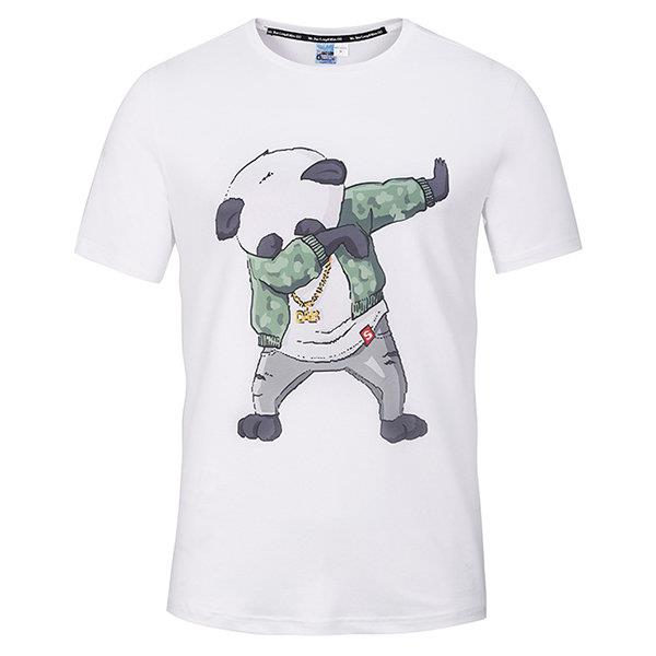 Mens Breathable Casual Tee Top 3D Panda Printed Round Neck Short Sleeve T-shirt