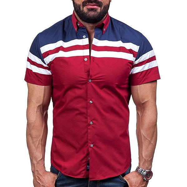 Casual Fashion Wine Red Stitching Stripes Printing Designer Shirts for Men