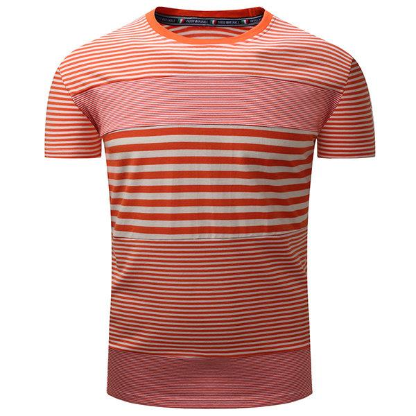Mens Summer Cotton Striped Printed O-neck Short Sleeve Casual T-shirt