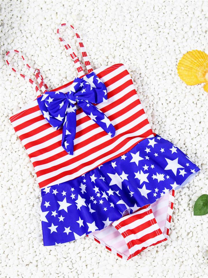 Gute Girls American Flag Stars Stripes Printing Bowknot One-piece Bathing Suit