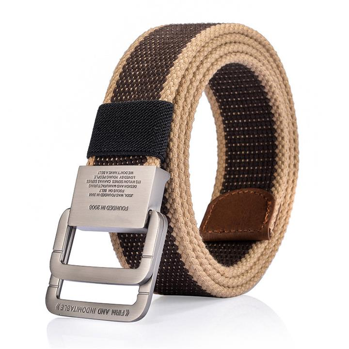 125CM Men Canvas Double Loop Belt Outdoor Tactical Alloy Buckle Durable Pants Waistband