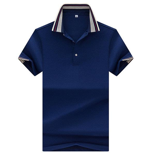 Mens Breathable Polo Shirt Solid Color Short Sleeve Spring Summer Casual Tops