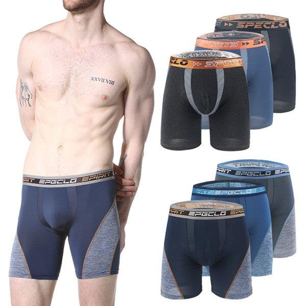 Box Packed 3 Pieces High Elastic Breathable Riding Sport Quickly Dry Boxers Shorts for Men