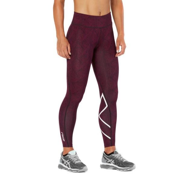 2XU Mid-Rise Print Womens Full Length Compression Tights – Dark Charcoal/Peacock Pink/White