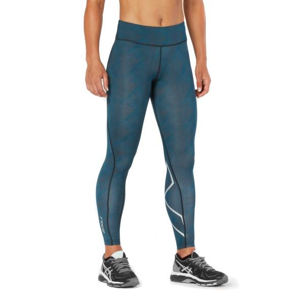 2XU Mid-Rise Print Womens Full Length Compression Tights – Moroccan Blue/Silver