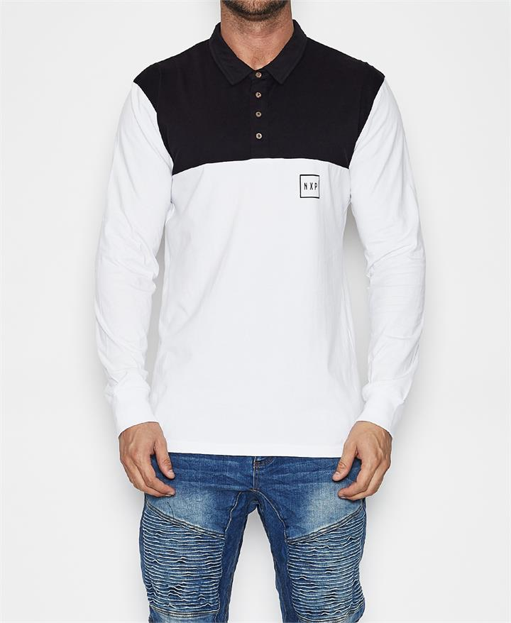 The Pacific Long Sleeve Polo T-Shirt Black/White