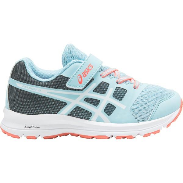 Asics Patriot 9 PS – Kids Girls Running Shoes – Porcelain Blue/White/Flash Coral