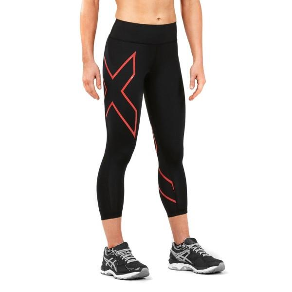 2XU Bonded Mid-Rise Womens 7/8 Compression Tights – Hibiscus/Black